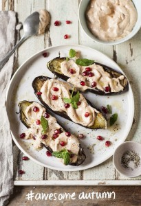 Roasted aubergines with harissa