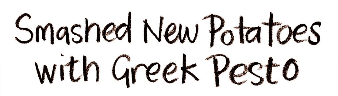 New potatoes with greek pesto