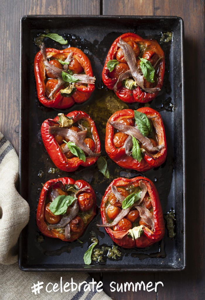 Red peppers with basil pesto