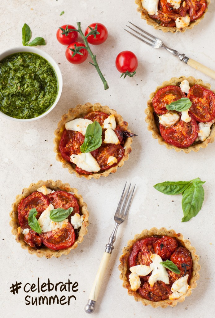 Pesto tartlets with Tomatoes and goats cheese