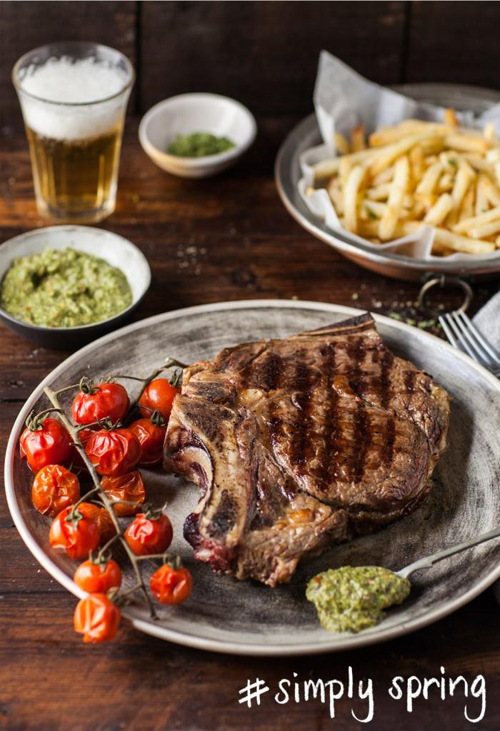 Ribeye steak with chimichurri