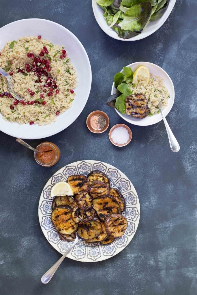 Harissa aubergine quinoa salad