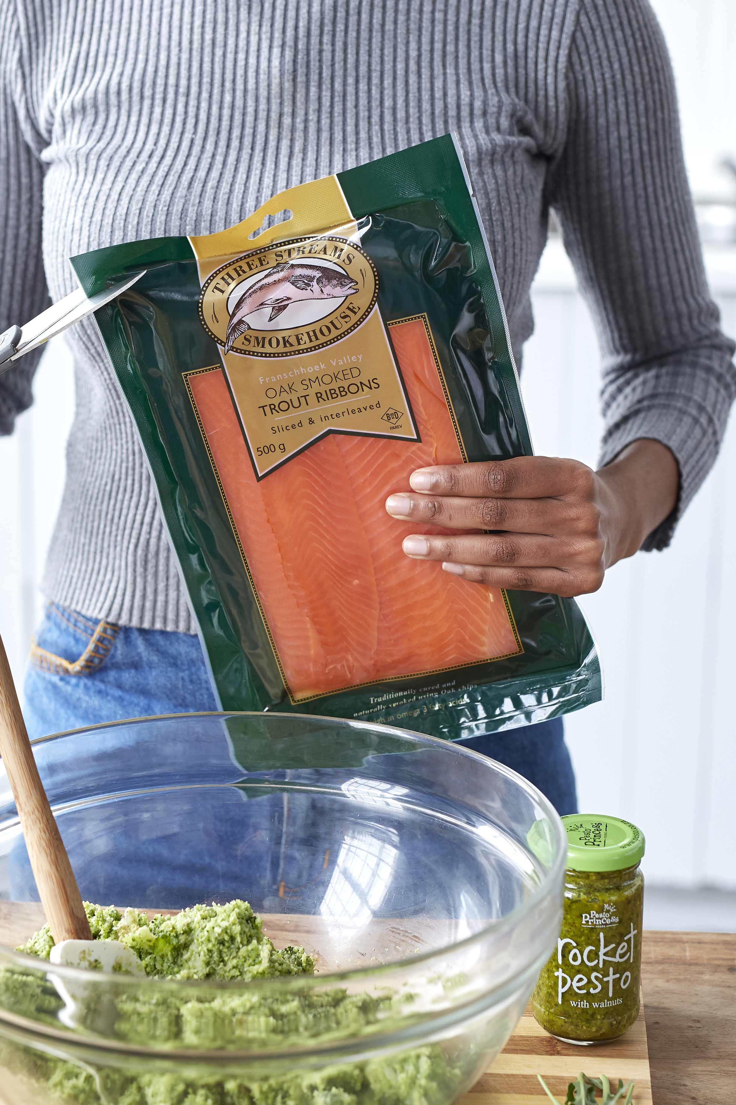 Pesto Princess © Rocket Pesto, Broccoli and Smoked Trout Pasta